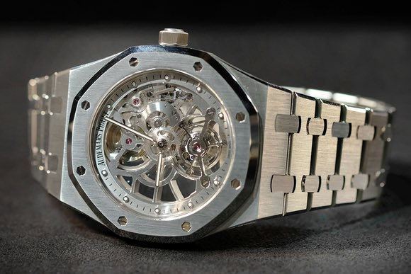 Repliche Audemars Piguet Royal Oak Tourbillon Extra-Thin squelette in acciaio