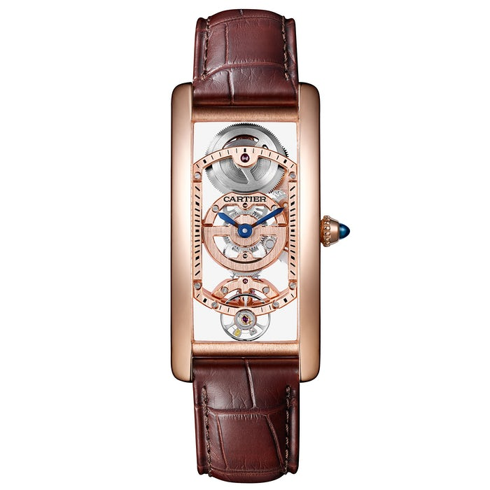 Cartier Tank Cintrée Skeleton in oro rosa